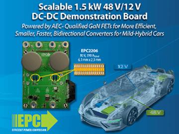 EPC推出可扩展、效率更高的双向转换器 可用于轻型混动汽车和电池备用装置