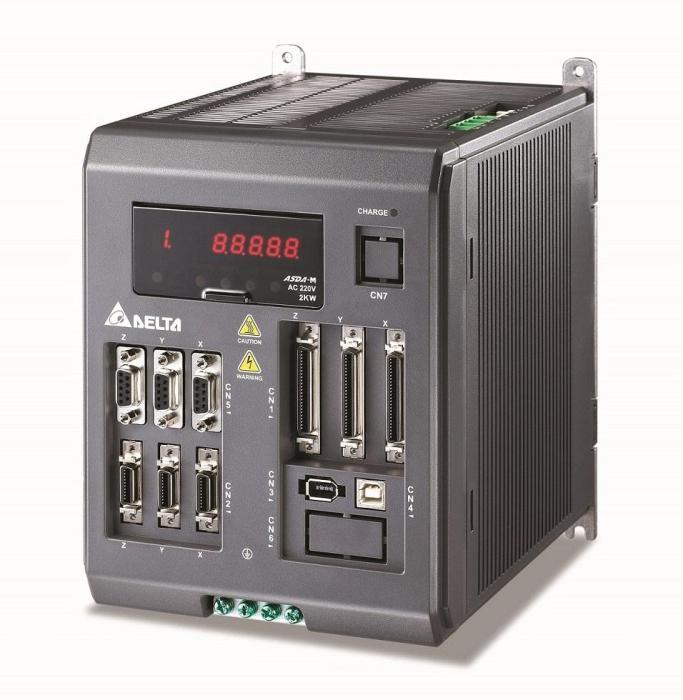 图2 方案采用三轴驱控一体交流伺服驱动器ASDA-M系列,一机可控制切膜机的2组输送轴和刀轴,搭配交流伺服驱动器ASDA-A2驱动入膜轴,完成4...